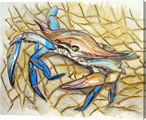 "Blue Crab by Mark Ray - 8""x10"" Gallery Wrapped Giclee Canvas Art Print - Ready to Hang"