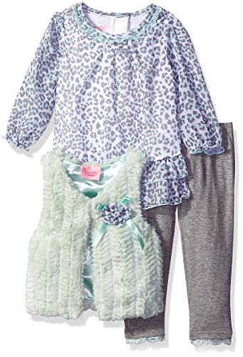 (Nannette Baby Girls' 3 Piece Curly Faux Fur Vest and Legging Set, Green 12)