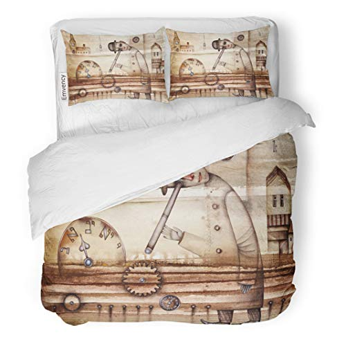 Semtomn Decor Duvet Cover Set King Size Brown Architecture Man and Clock Watercolor City Cubism Cubist 3 Piece Brushed Microfiber Fabric Print Bedding Set Cover