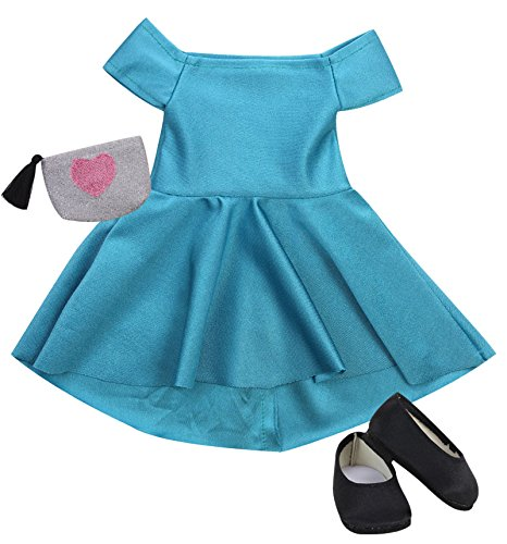 Sparkling Heart Purse and Black Doll Shoes Perfect for American Dolls /& More Teal Green Holiday Doll Dress Sophia/'s Sophias Doll Clothes 18 Inch Doll Dress