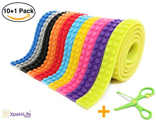 BLOCK TAPE for Lego Bricks, Non-toxic Cuttable Compatible with Major Brands Building Blocks, self adhesive Baseplate Strips for kids, 10 COLORS 3.2 feet, bonus a safe scissors, Toy Gift, 10 - Of Block Hours Orange