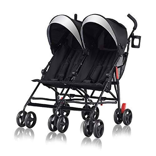 Cchainway Ultra-Lightweight Double Stroller – Side by Side Umbrella Stroller, Foldable Twin Infant Toddler Stroller with 5-Point Harness, Adjustable Sun Canopy for Baby Toddlers (Black)