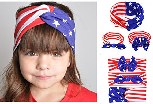 Price comparison product image Yeshan Pack of 6 Baby Girl US Flag Bandana Rabbit Ears Bow Headband Sets , USA Turban Headwrap Bow knot Hairband