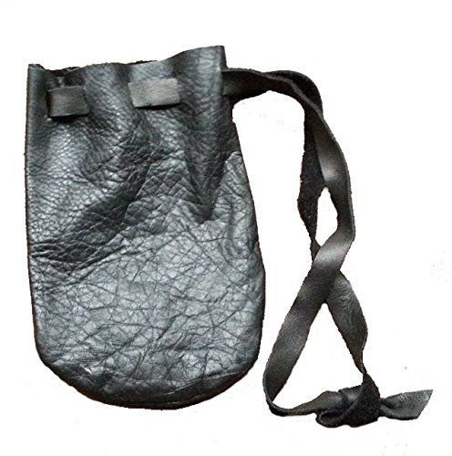 Leather Bag Dice (Leather Pouch Coin Dice Bag BLACK - Made in USA)