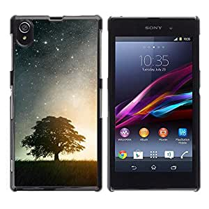 // PHONE CASE GIFT // Duro Estuche protector PC Cáscara Plástico Carcasa Funda Hard Protective Case for Sony Xperia Z1 L39 / BEAUTIFUL STARRY NIGHT STARS & TREE /