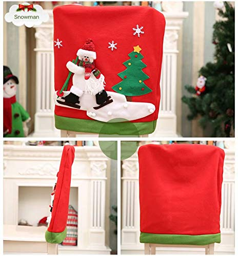 Free 4pcs Hotel Christmast Red Hat Style Chair Back Cover Santa Claus Decoration Christmas Dinner Table Party Decor 50*60cm Table & Sofa Linens