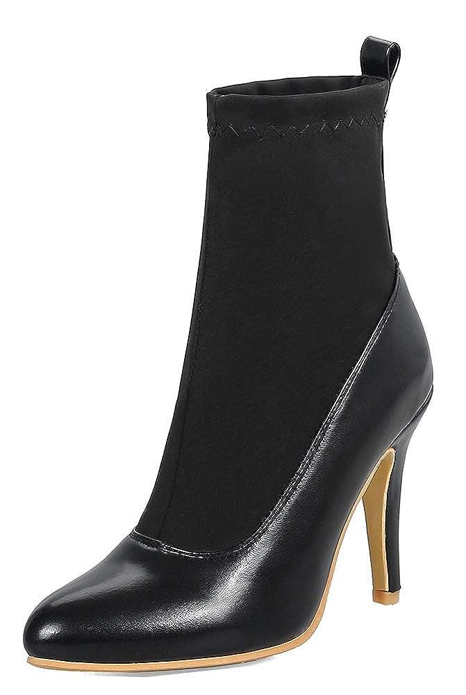 Easemax Femme Mignon Chaussure Chaussure Montante Talon Aiguille Easemax Pointue Bottines Noir Noir a09f5eb - deadsea.space