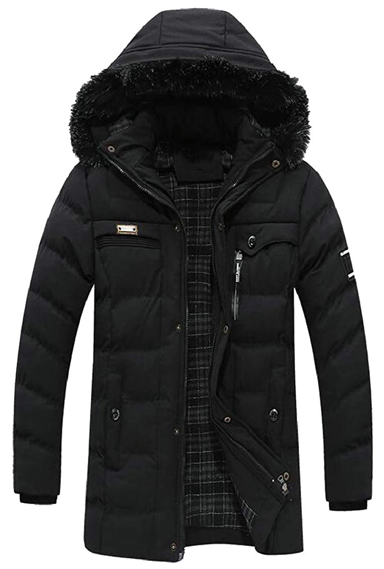 Hokny TD Men Winter Faux Fur Hooded Warm Quilted Padded Down Jacket