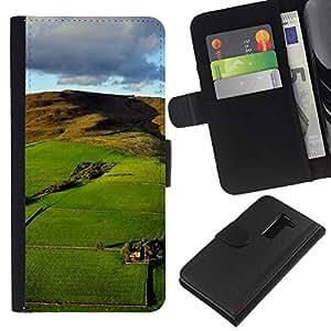 KLONGSHOP // Tirón de la caja Cartera de cuero con ranuras para tarjetas - Naturaleza Hermosa Forrest Verde 126 - LG G2 D800 //