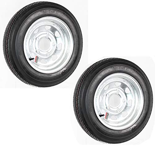 2-Pack Trailer Tire On Rim 4.80-12 480-12 4.80X12 12 in. LRB 5 Lug Galvanized