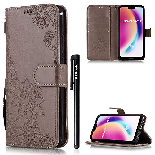 BtDuck HUAWEI P20 Lite Case,HUAWEI P20 Lite Leather Case Clear Phone Flip...