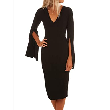 e14b0f213e Makulas Women s Sweater Flare Long Sleeve Solid Dresses Sexy V Neck Skinny  Slim Party Cocktail Pullover