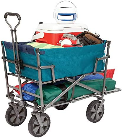 MacSports Heavy Duty Outdoor Folding Wagon Double Decker Portable Lightweight Utility Cart Rolling Cart All Terrain Beach Wagon for Camping Gear, Beach Accessories, Groceries