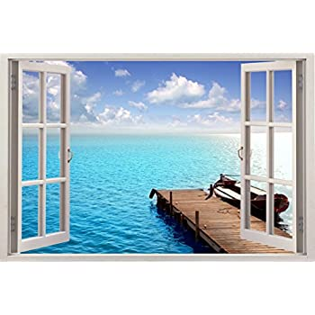 Amazoncom Bomba Deal Realistic Window Wall Decal Peel Stick