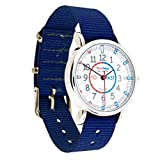 EasyRead Time Teacher Children's Watch, 'Minutes Past & to', Red, Blue, Grey Face/Navy Blue Strap