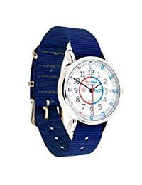 EasyRead Time Teacher Children's Watch, Minutes Past & Minutes to, Red, Blue, Grey Face/Navy Blue Strap
