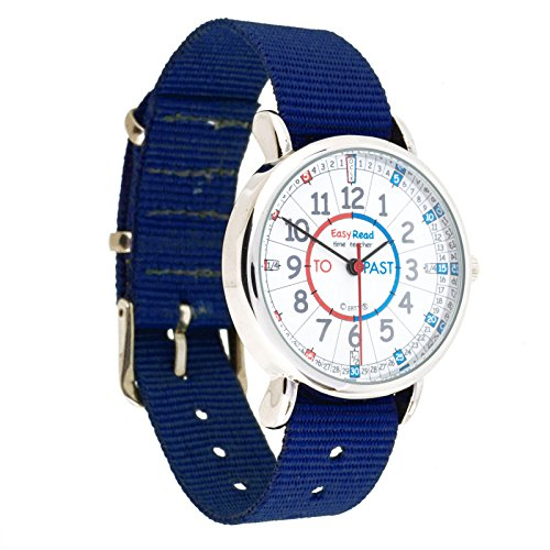 EasyRead Time Teacher Children?s Watch, ?Minutes Past & To?, Red, Blue, Grey Face/Navy Blue Strap