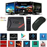 [Free Wireless Mini keyboard]Bros Unite Q8 Amlogic S905 Quad Core Android Tv Box Google 5.1 Pre-installed Fully loaded Add-ons with Kodi 16.0 Cloud TV H.265 3D Wifi LAN Streaming Media Player