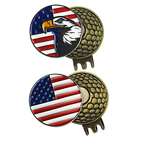 PINMEI 2 Sets of Golf Ball Markers with Magnetic Golf Hat Clips, American Flag and - Ball Golf Marker Cap