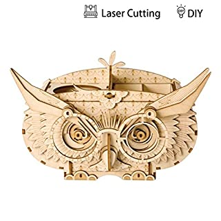 3D Owl Shortage Holder Wooden Jigsaws Kit Wooden Puzzles DIY Hand Craft Mechanical Toy Gift for Kids Teens Adults