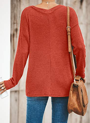 Blibea Womens Fall Long Sleeve Twist Knot Blouse Knit Shirts Casual Tunic Tops