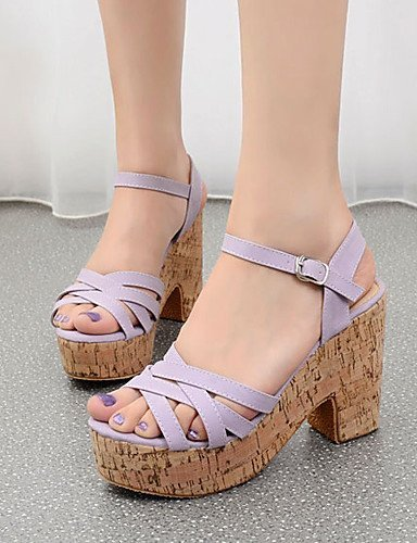 ShangYi Women's Shoes Leatherette Chunky Heel Open Toe Sandals Dress Purple / White
