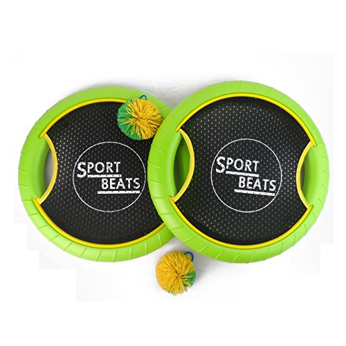 SPORT BEATS Outdoor Bouce-Back Trampoline Paddle Ball Game Set for 2 Player 1 Balls Included (Green)]()