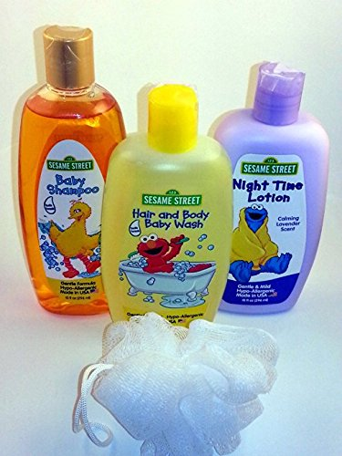 4 Item Sesame Street Bathing Bundle - 1 Baby Shampoo, 1 Hair and Body Baby Wash, 1 Night Time Lotion and 1 Bath Scrubby
