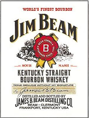 Jim Beam Kentucky Straight Bourbon Whisky. Bottle label with stamp. Drink. Whisky bottle. For pub, bar, house, home or kitchen. Small Metal/Steel Wall Sign by Yerkes