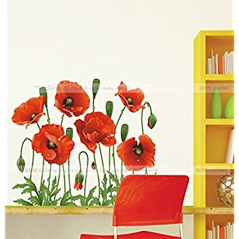 Mianmian tm beautiful poppies flowers wall stickers mural for Red flower wallpaper living room