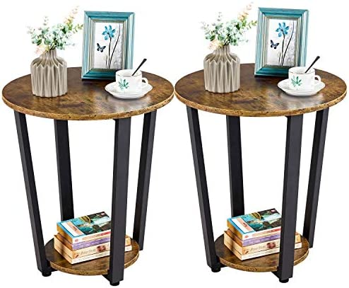 YAHEETECH Yaheetch 2 pcs Industrial Side Table