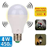 Blueseao Motion Sensor Light Bulb, 4W Smart Induction Bulb Radar Dusk to Dawn LED Motion Sensor Light E27 Base Indoor Microwave Bulb Night Lights Outdoor Of Stairs And Stairs US STOCK (white) Review