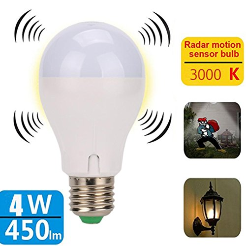 Blueseao Motion Sensor Light Bulb, 4W Smart Induction Bulb Radar Dusk to Dawn LED Motion Sensor Light E27 Base Indoor Microwave Bulb Night Lights Outdoor Of Stairs And Stairs US STOCK (white)