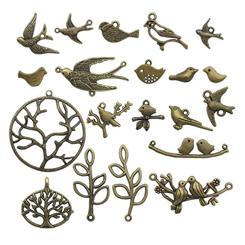 Bird Branch Connector Charms -50pcs Mixed Antique Bronze Charms Pendants for Crafting, Jewelry Findings Making Accessory For DIY Necklace Bracelet (Bird Branch Collection) (antique bronze HK11) (Bronze Bird)