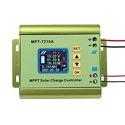 DROK MPPT Solar Panel Battery Charge Controller Color LCD Digital Display Boost Voltage Converter Regulator DC 12-60V Step Up to DC 15-90V for 24V/36V/48V/60V/72V 0-10A Battery Charging