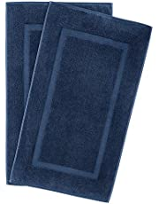900 GSM Machine Washable 20x34 Inches 2-Pack Banded Bath Mats, Luxury Hotel and Spa Quality, 100% Ring Spun Genuine Cotton, Maximum Softness and Absorbency by United Home Textile, Navy Blue