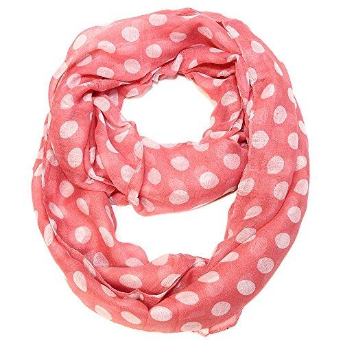 Falari Polka Dot Infinity Loop Scarf Soft Lightweight (Coral & White.) 6019-02 (Dot Coral Polka)