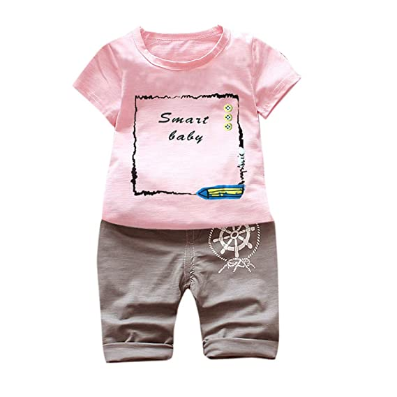441eb23a733ebc MIUSQ Boys Cotton Text Print Half Sleeves T-Shirt and Pant Set in Pink Color
