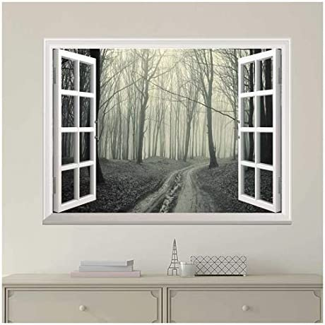 Modern White Window Looking Out Into a Road That Leads to a Dark Foggy Forest - Wall Mural, Removable Sticker, Home Decor - 36x48 inches