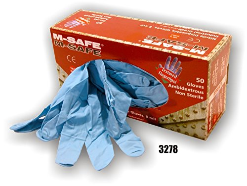 (20 Boxes) Majestic POWDERED 8 MIL DISPOSABLE NITRILE GLOVES, 50/BOX - 2X LARGE(3278/12)