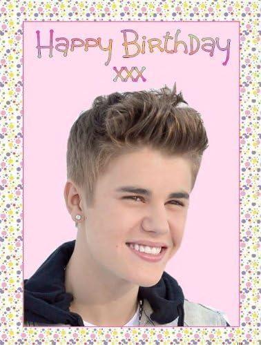 Swell Justin Bieber Happy Birthday A4 Cake Topper Edible Sugar Icing Funny Birthday Cards Online Elaedamsfinfo