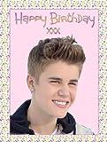 Justin bieber happy birthday a4 décoration de gâteau en sucre émail coussin comestible