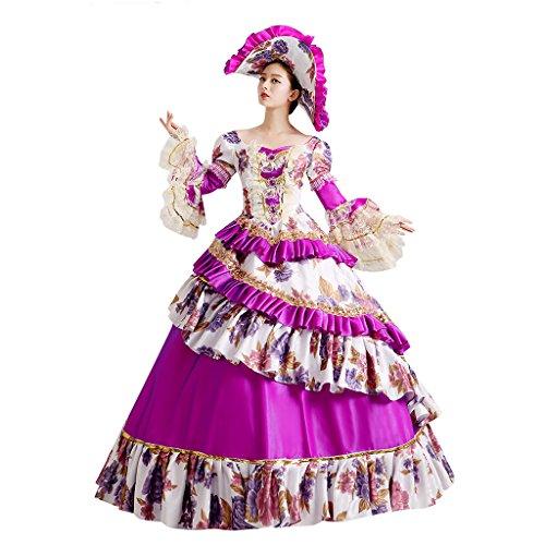Viktorianischen Damen Kleid Masquerade Dress Cosplayitem Violett Violett Prinzessin Königin Set Kleider Kostüm Hut Kleid Petticoat Gothic Palace von Mädchen für q8wwBdC5