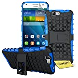 Huawei Ascend G7 Case, FoneExpert® Heavy Duty Rugged Impact Armor Hybrid Kickstand Protective Cover Case For Huawei Ascend G7 + Screen Protector & Cloth (Blue)