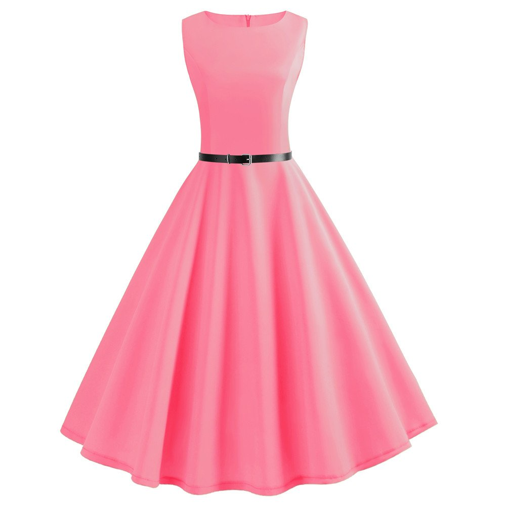 Hepburn Dresses, ShenPr Women's Boatneck Sleeveless Plain Vintage Cocktail Prom Tea Dress with Belt