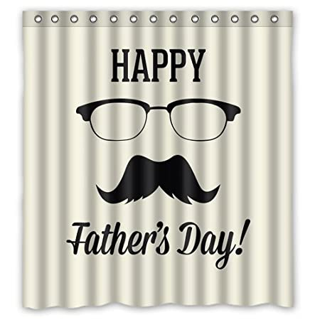 Glasses and Mustache Happy Father\'s Day Shower Curtain Waterproof ...
