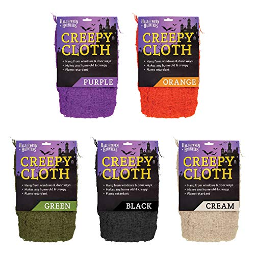 Halloween Haunters Black, Green, Cream, Purple and Orange Colored Freaky Creepy Cloth Fabric Party Prop Decor - 5 Packs, 50 Feet of Spooky Gauze - Hang Drape on Doorways, Entryway, Scary Haunted House]()