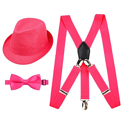 Alizeal 1 inch Suspender and Bow Tie Set with Hat for Kids(Hot Pink)