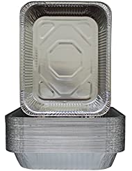 """30-Pack Aluminum 9x13"""" Half Size Roasting Pans Super-Thick - Standard Size Chafing Pans Tins - Eco-Friendly Recyclable Aluminum - Portable Food Storage Containers - By MontoPack"""