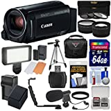 Canon Vixia HF R80 16GB Wi-Fi 1080p HD Video Camera Camcorder with 64GB Card + Battery & Charger + Case + Tripod + 3 Filters + LED + Mic + 2 Lens Kit